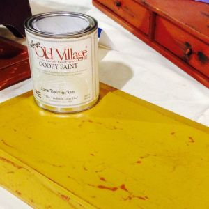 Goopy British Red base coat, Antique Yellow On Top.