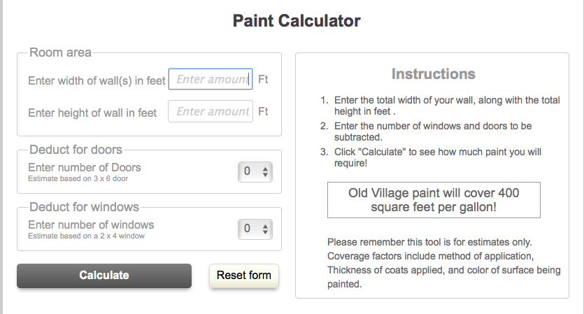 How Much Paint Do You Need Use Our Free Calculator Old Village Paint